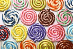 Rows of colorful spiral lollipops from Hammond's