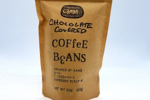 A bag of Zingermans's Candy chocolate covered coffee beans.