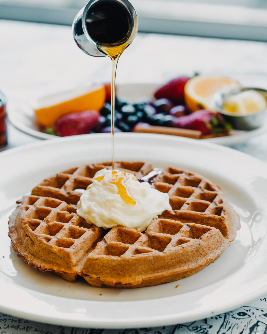 Waffle with Syrup pour